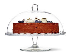 glass cake stand with lid