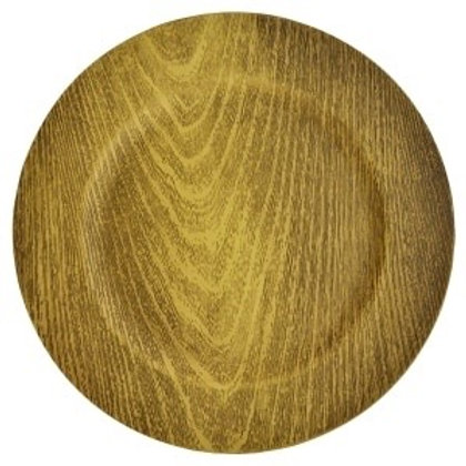 Faux wood charger plates