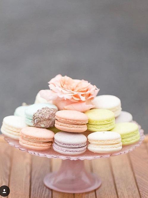 Small blush glass cake stand