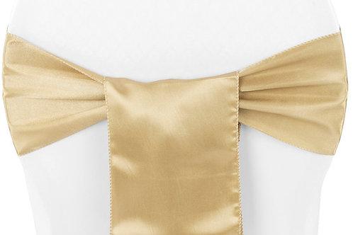 gold satin chair sash