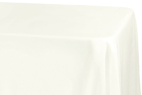"Ivory 90x156"" polyester tablecloth"