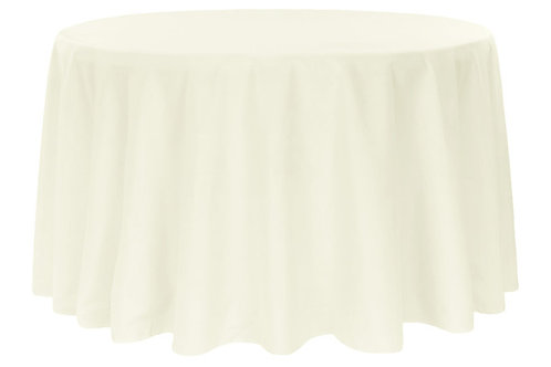 "Ivory 120"" polyester tablecloth"