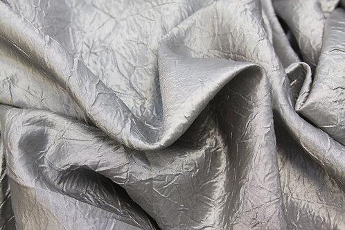 "Silver crushed taffeta 120"" tablecloth"