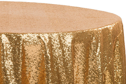 """Gold sequin 120"""" tablecloth"""