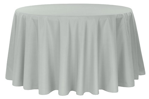 """Soft grey 108"""" polyester tablecloth"""