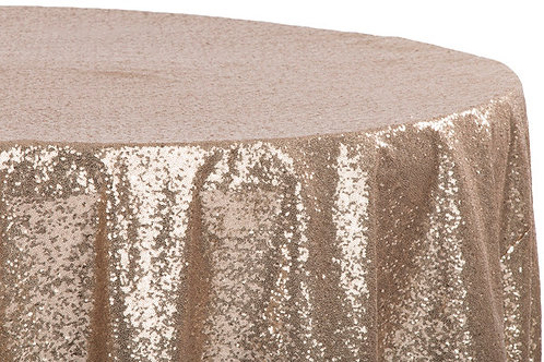 """Champagne sequin 108"""" tablecloth"""