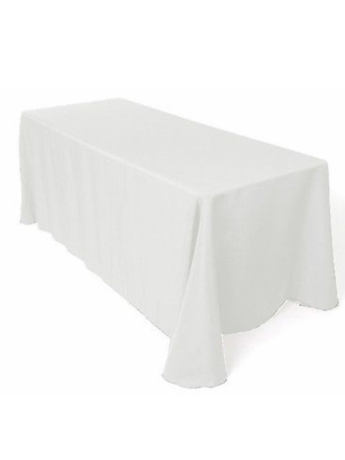 White 90x156 polyester tablecloth
