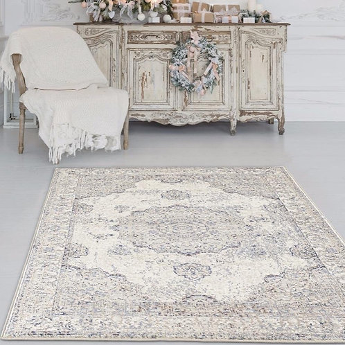 vintage ivory and blue rug 5x7