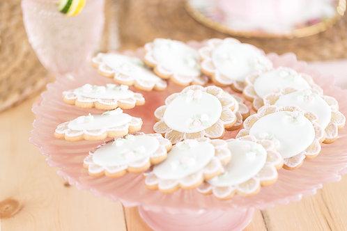 Blush glass cake stand