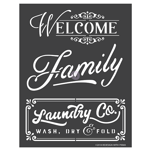 Welcome, Family, Laundry -Prima 3D Stencil