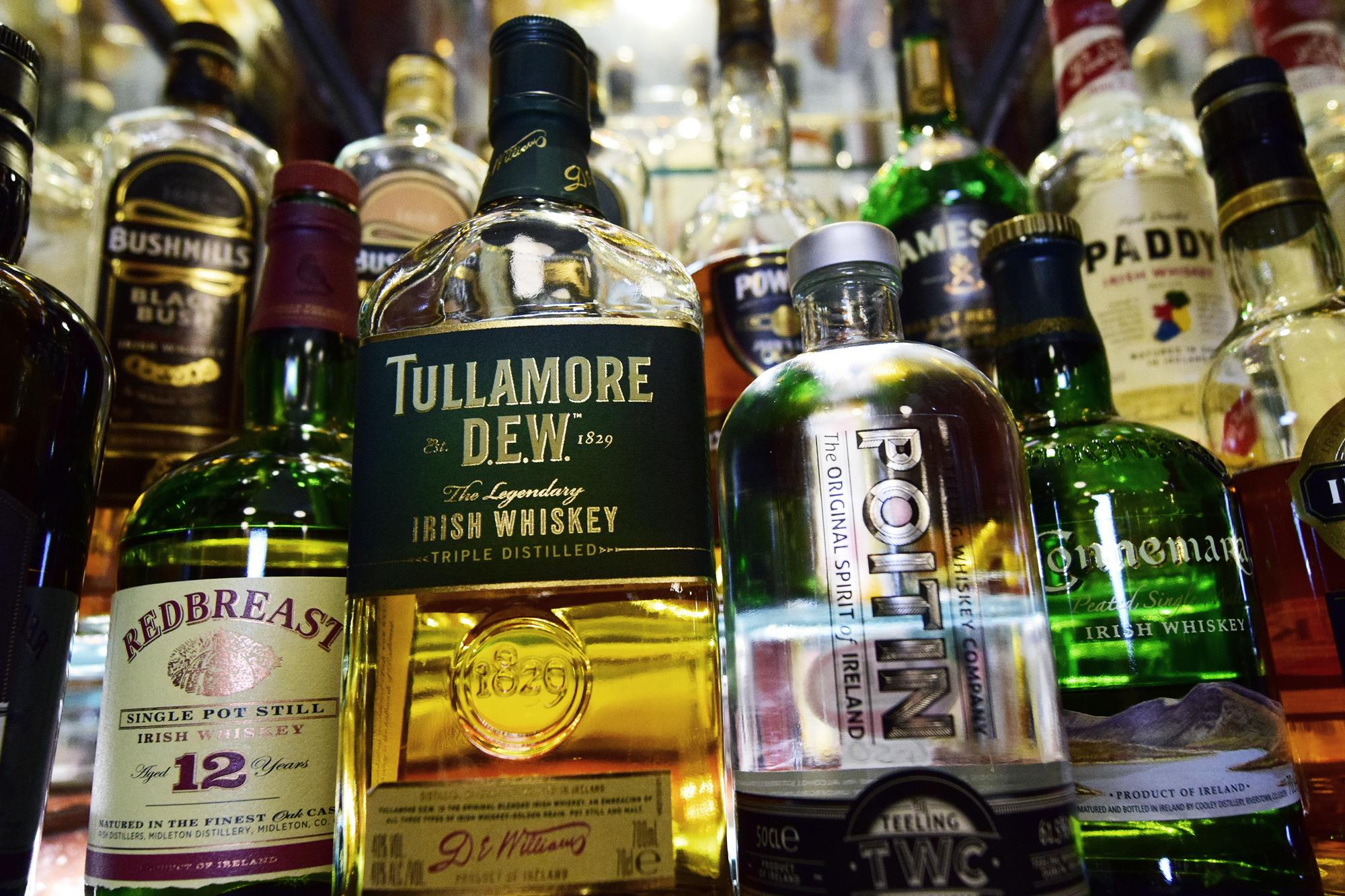 Heraghty's Bar Irish whiskeys