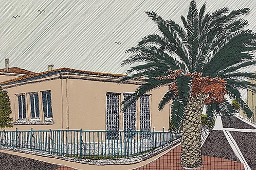 Pink House and Palm, La Palme