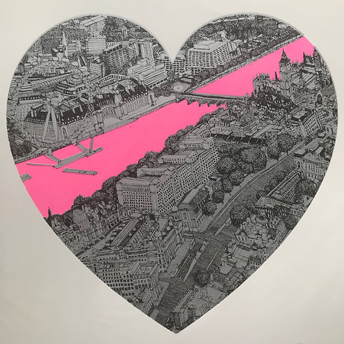 London Loves Pink on Silver