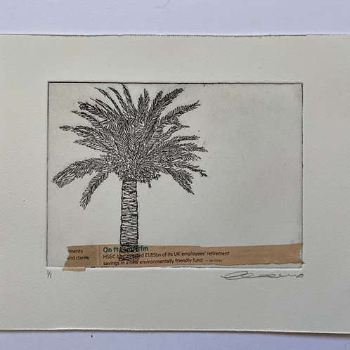 Palm and pink base, horizontal text, etching