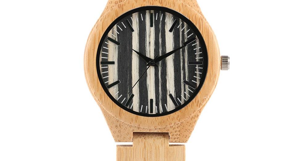Relógio Masculino de madeira com listras pulseira de couro e bambu Montre Homme