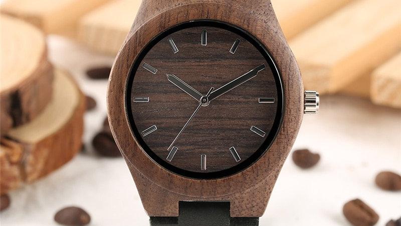 Relógio Feminino Estilo Café Caixa de Madeira Pulseira de Couro Elegante Quartzo