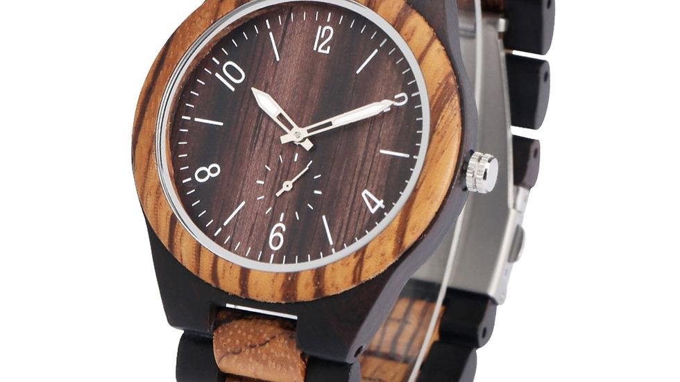 Relógio moderno de madeira estilo zebra de ébano com pulseira de madeira genuína