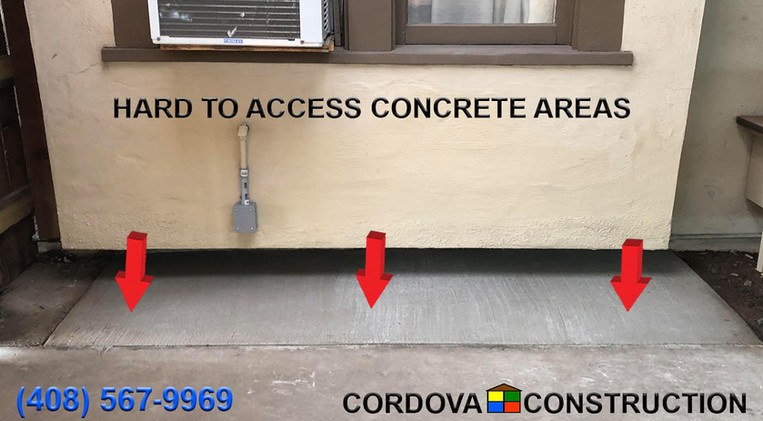 Hard to access concrete areas