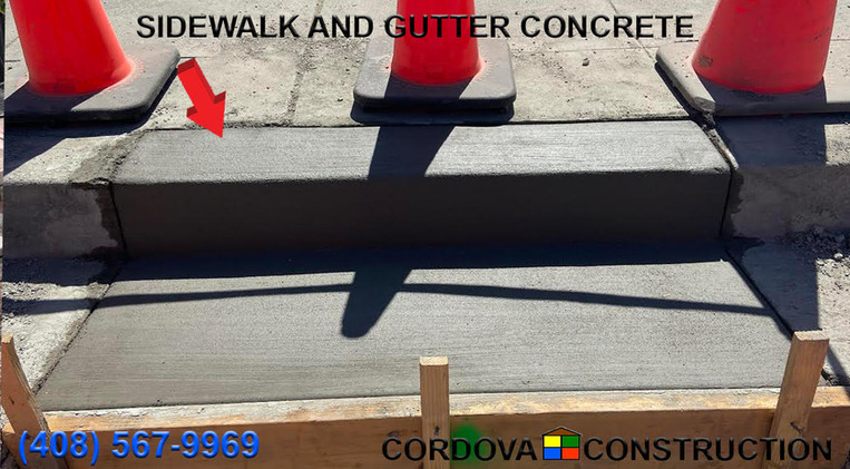 Sidewalk and gutter concrete