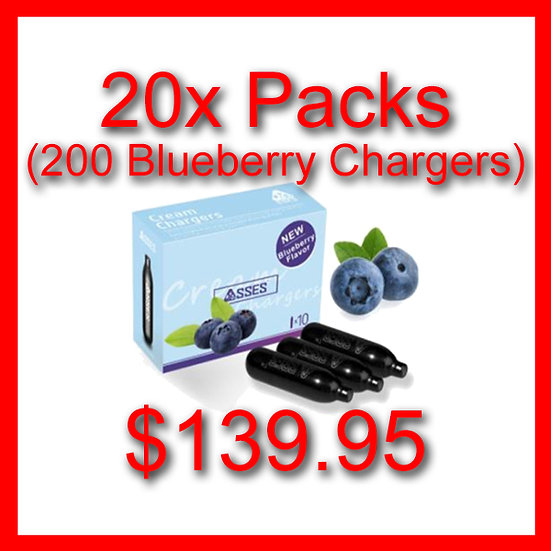 20x Packs (200) Blueberry Flavoured Cream Chargers
