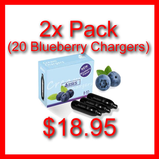 2x Packs (20) Blueberry Flavoured Cream Chargers