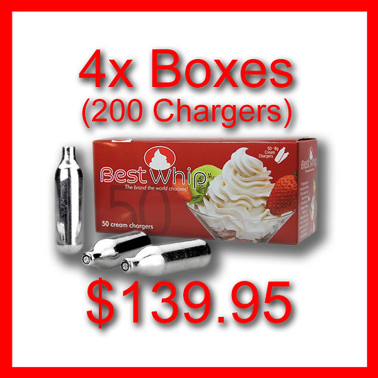 4x Boxes (200) Cream Chargers