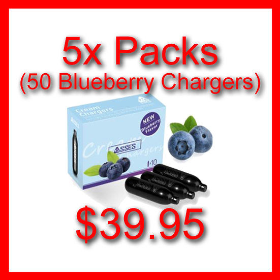 5x Packs (50) Blueberry Flavoured Cream Chargers