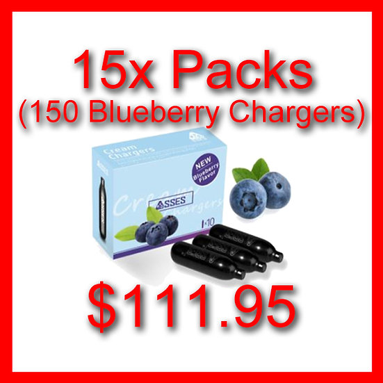 15x Packs (150) Blueberry Flavoured Cream Chargers