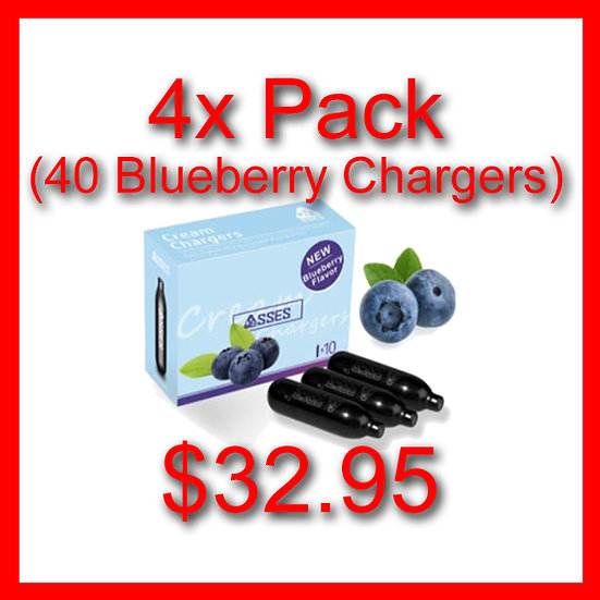 4x Packs (40) Blueberry Flavoured Cream Chargers