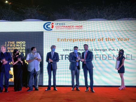 """""""Entrepreneur of the Year"""" at Indo-French Business Award 2021."""