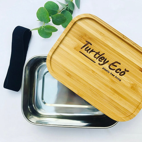 Turtley Eco Stainless Steel Lunchbox with Organic Bamboo Lid