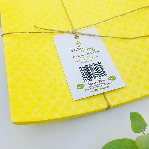 Compostable Sponge Cloths - Pack of 4