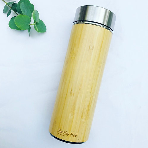 Insulated Bamboo Flask with Removable Tea Infuser
