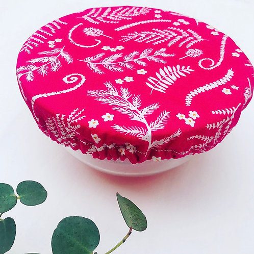 Set of 3 Fabric Bowl Covers - Pink Foliage
