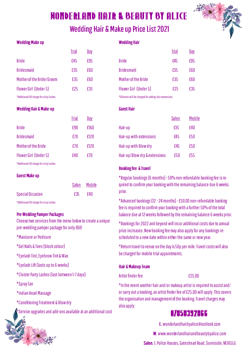 WEDDING HAIR & MAKEUP PRICELIST 2021 (IM