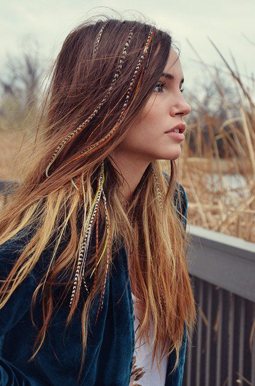 Hair feathers long brown