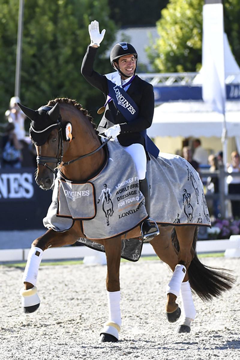D'Avie est champion du Monde des 7 ans à Ermelo. Il est distribué en France par La Collection, Etalons de Dressage