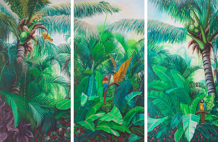 White Bird of Paradise Triptych with Parrots