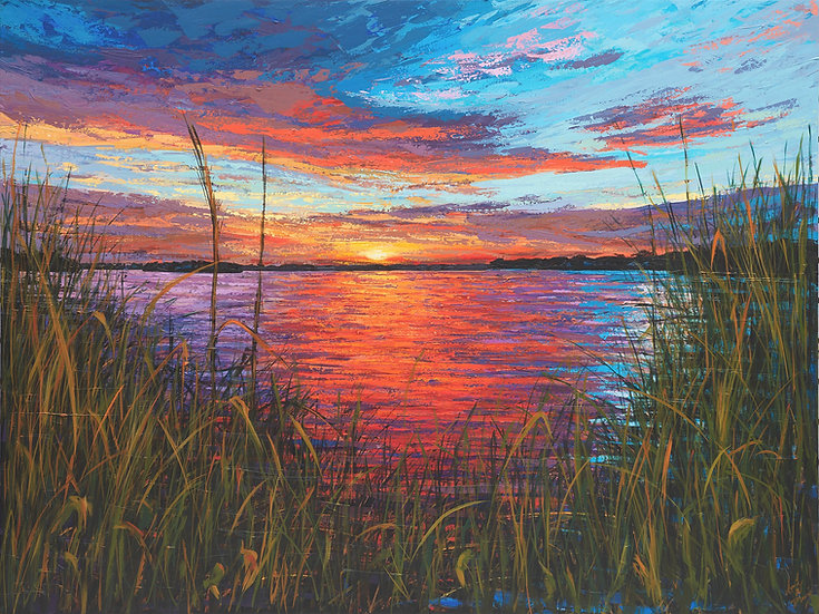 Sunset on the Loxahatchee III-(Horizontal with Grass)