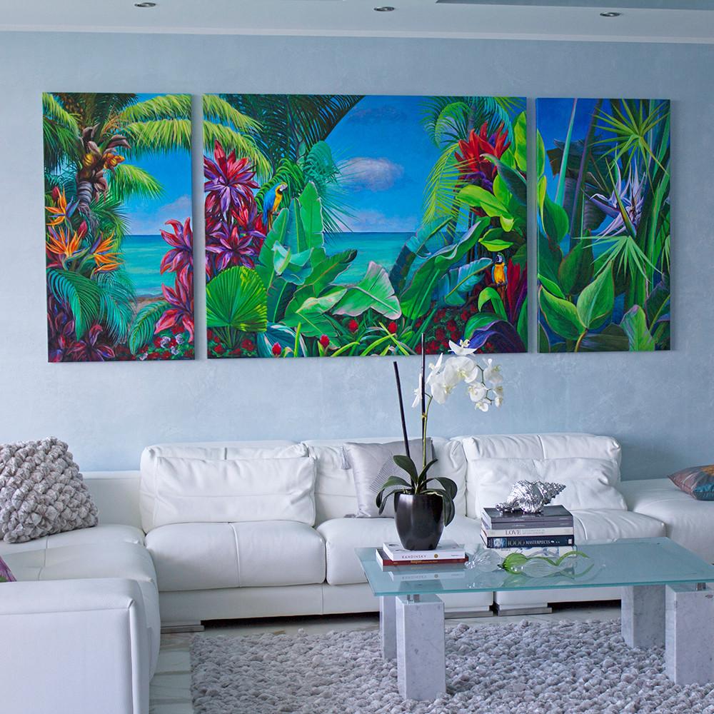 Ocean Paradise with Parrots Triptych