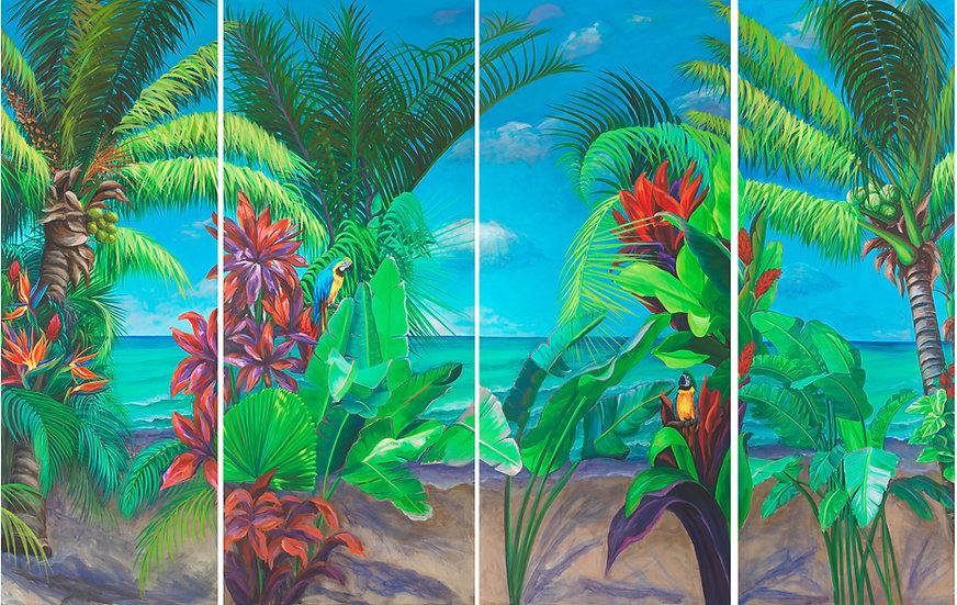 Ocean Paradise with Parrots VI ( 4 Panels)