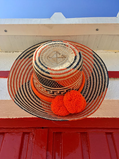Colombian Wayuu hat | Orange Straw | Kalekale | side view