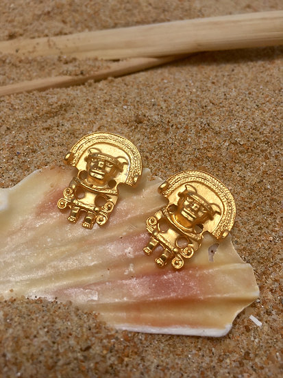 Precolombino indigenous earrings in gold 24 karat bath kale kale