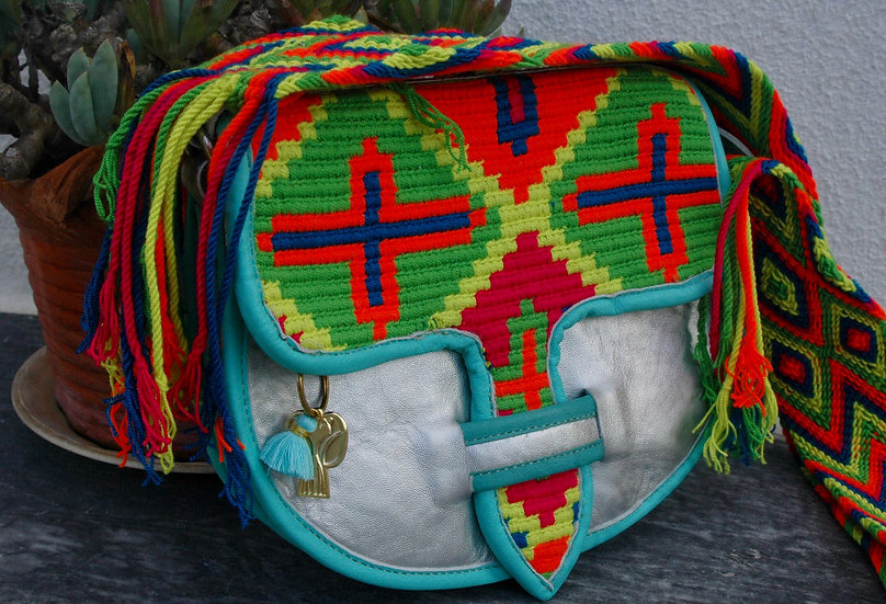 colombian wayuu leather bag multi and silver handcrafted by indigenous kale kale