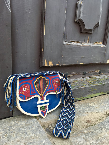 colombian wayuu leather bag blue red handcrafted by indigenous kale kale