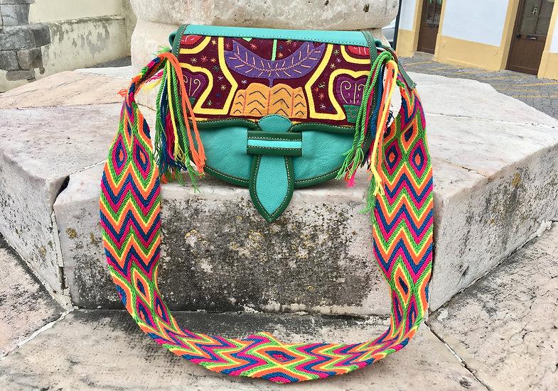 colombian wayuu leather bag aqua handcrafted by indigenous kale kale