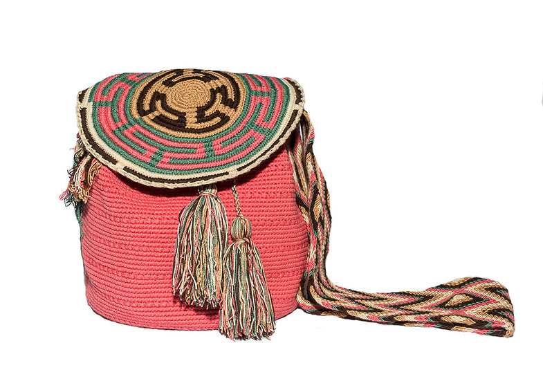 Wayuu Colombian bucket bag with pompons pink kalekale