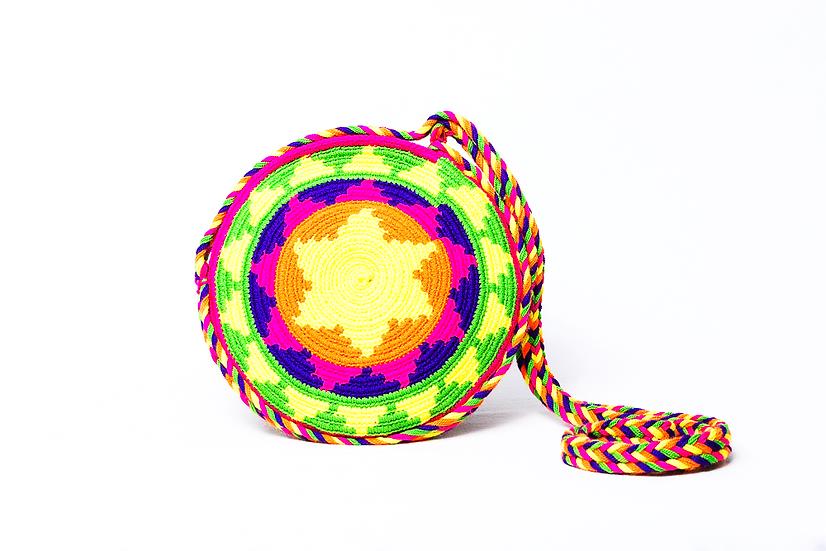 Wayuu Colombian mini bag rounded with pompons boho style kalekale