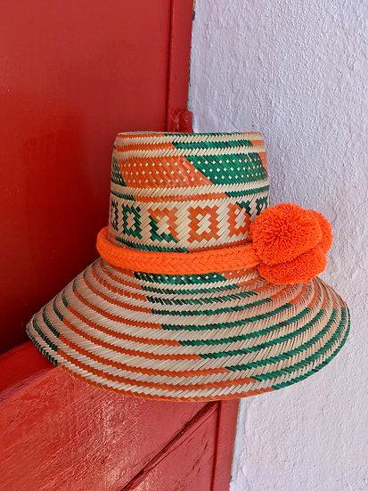 Colombian Wayuu summer hat | handmade orange Straw | Kalekale | frontal view