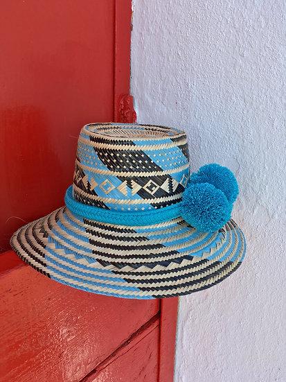 Colombian Wayuu summer hat | handmade blue Straw | Kalekale | frontal view